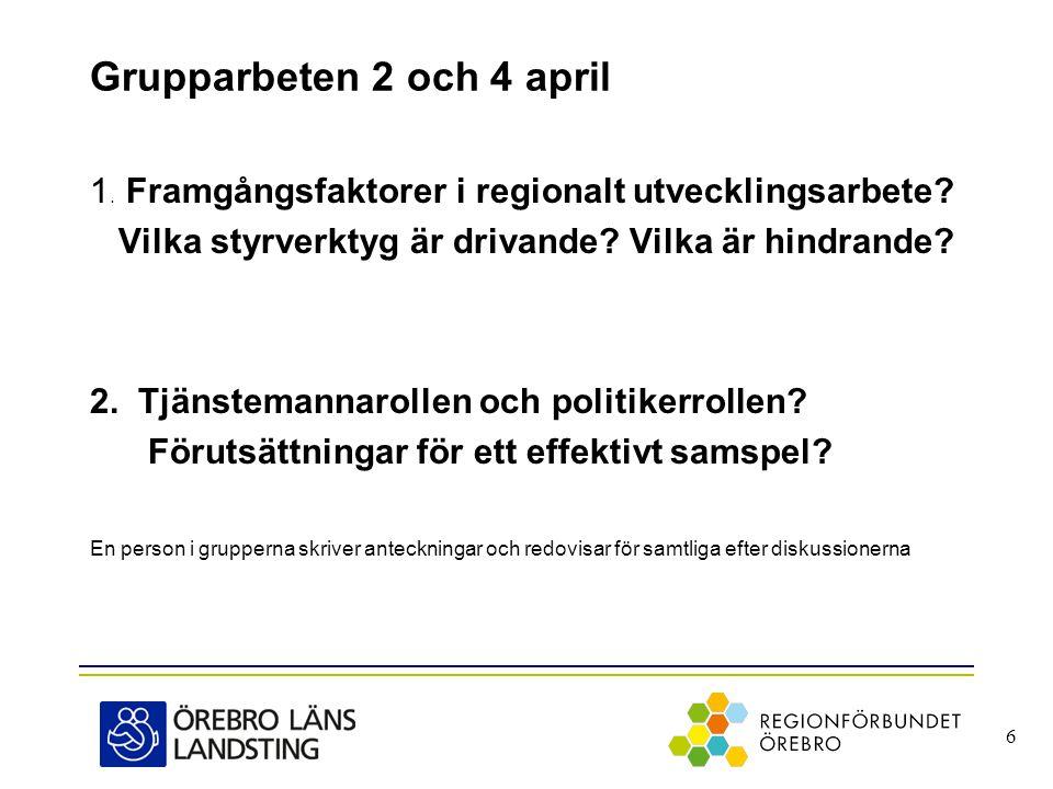 Grupparbeten 2 och 4 april 1. Framgångsfaktorer i regionalt utvecklingsarbete.
