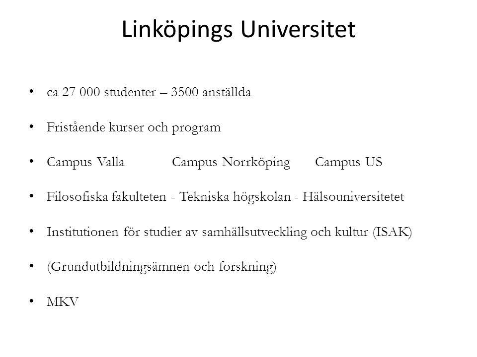 Linköpings Universitet ca 27 000 studenter – 3500 anställda Fristående kurser och program Campus VallaCampus NorrköpingCampus US Filosofiska fakulteten - Tekniska högskolan - Hälsouniversitetet Institutionen för studier av samhällsutveckling och kultur (ISAK) (Grundutbildningsämnen och forskning) MKV