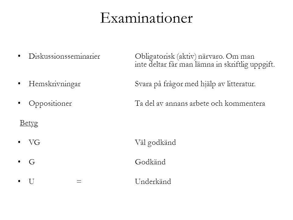 Examinationer Diskussionsseminarier Obligatorisk (aktiv) närvaro.