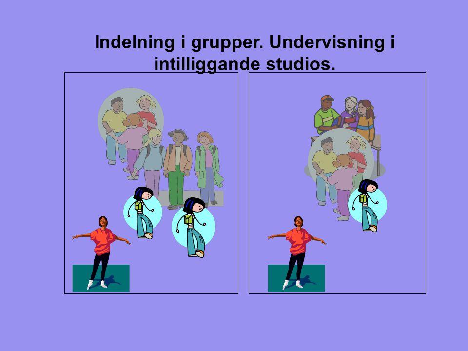 Indelning i grupper. Undervisning i intilliggande studios.