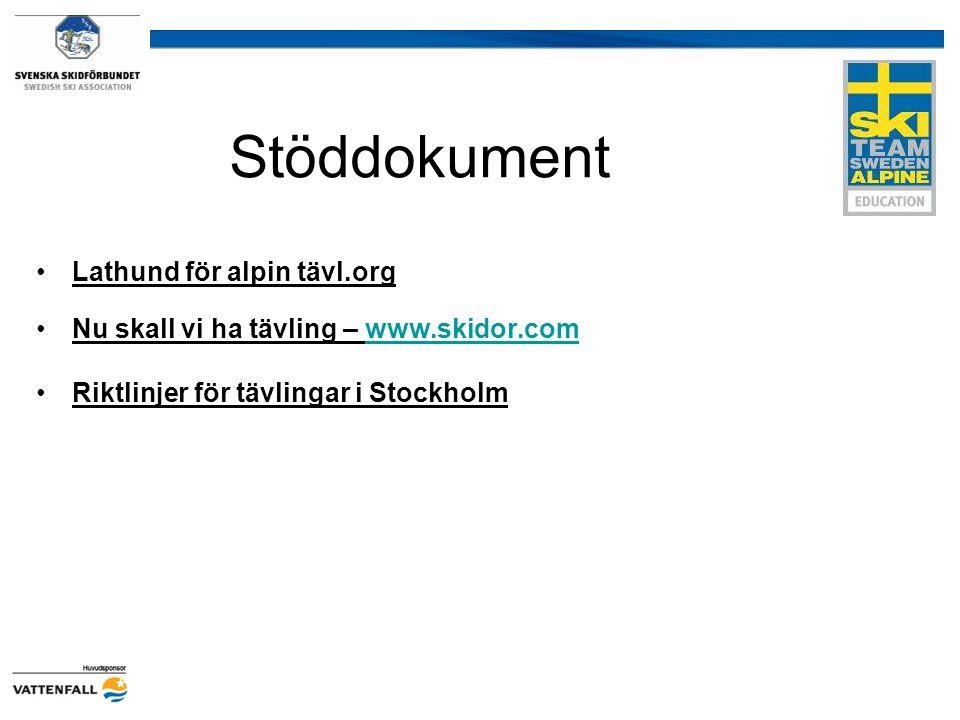 Stöddokument Lathund för alpin tävl.org Nu skall vi ha tävling – www.skidor.comwww.skidor.com Riktlinjer för tävlingar i Stockholm