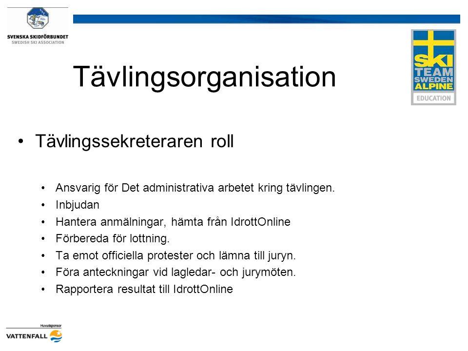 Tävlingsorganisation Tävlingssekreteraren roll Ansvarig för Det administrativa arbetet kring tävlingen. Inbjudan Hantera anmälningar, hämta från Idrot