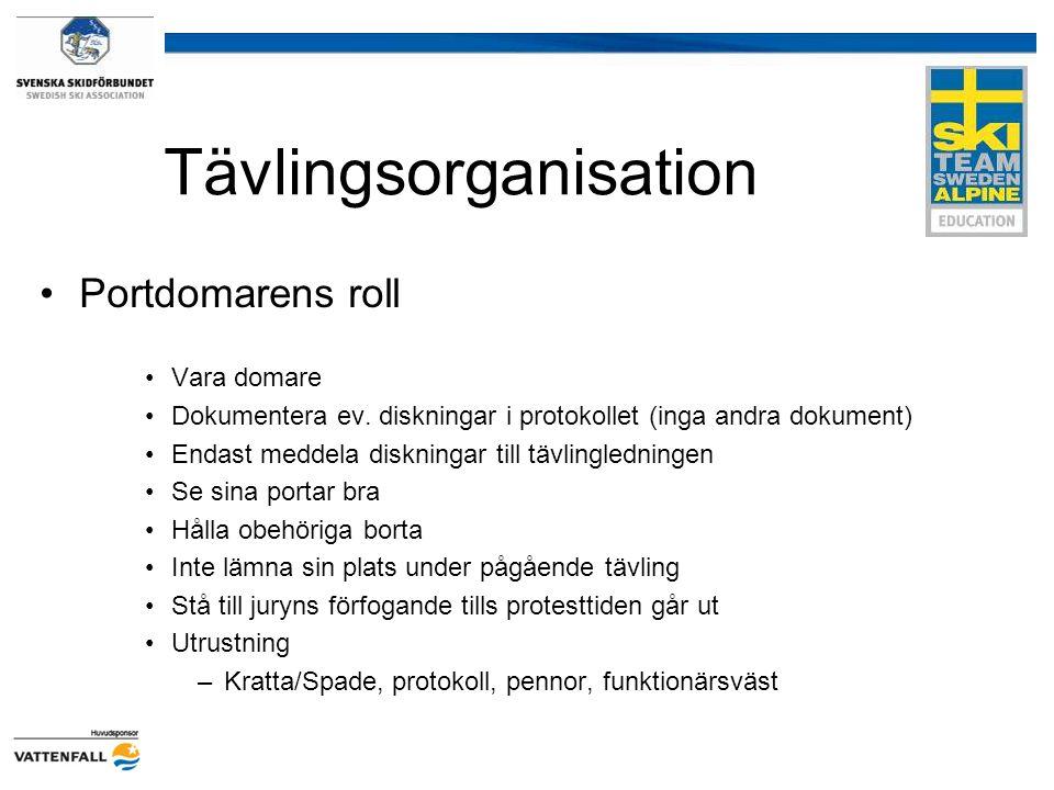 Tävlingsorganisation Portdomarens roll Vara domare Dokumentera ev. diskningar i protokollet (inga andra dokument) Endast meddela diskningar till tävli