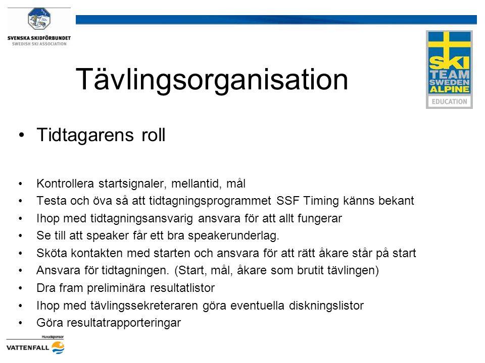 Tävlingsorganisation Tidtagarens roll Kontrollera startsignaler, mellantid, mål Testa och öva så att tidtagningsprogrammet SSF Timing känns bekant Iho