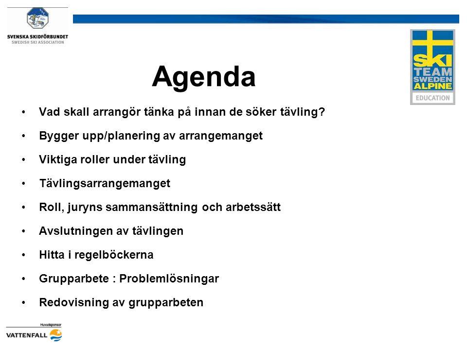 Agenda Vad skall arrangör tänka på innan de söker tävling? Bygger upp/planering av arrangemanget Viktiga roller under tävling Tävlingsarrangemanget Ro