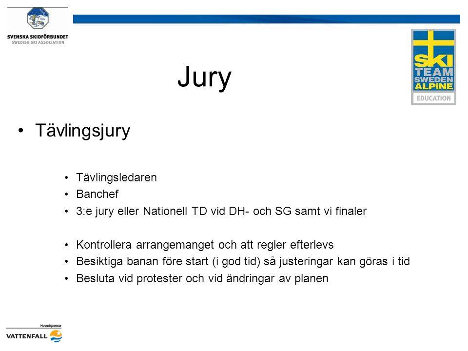 Jury Tävlingsjury Tävlingsledaren Banchef 3:e jury eller Nationell TD vid DH- och SG samt vi finaler Kontrollera arrangemanget och att regler efterlev