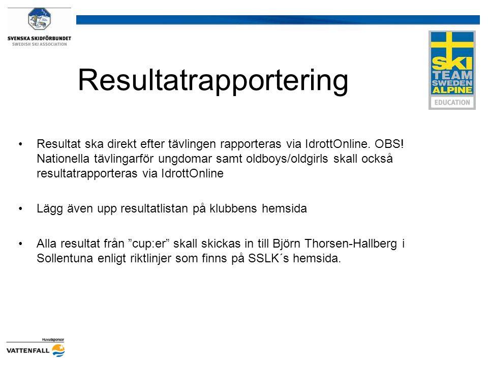 Resultatrapportering Resultat ska direkt efter tävlingen rapporteras via IdrottOnline. OBS! Nationella tävlingarför ungdomar samt oldboys/oldgirls ska