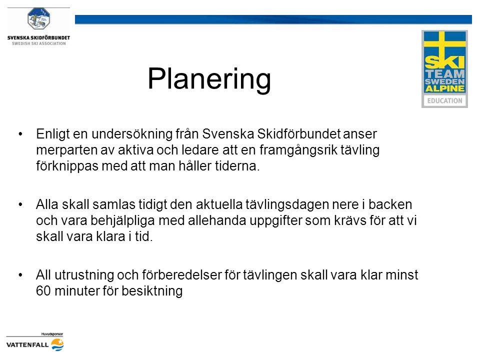 Planering Enligt en undersökning från Svenska Skidförbundet anser merparten av aktiva och ledare att en framgångsrik tävling förknippas med att man hå