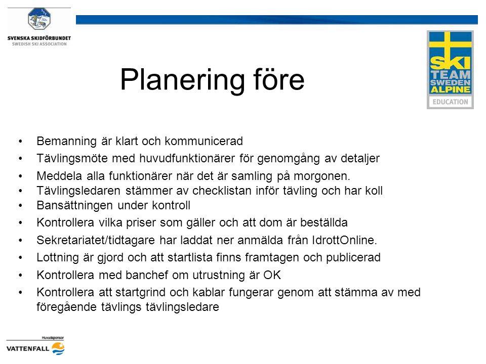 Planering före Bemanning är klart och kommunicerad Tävlingsmöte med huvudfunktionärer för genomgång av detaljer Meddela alla funktionärer när det är s
