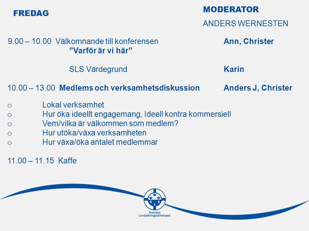 FREDAG 9.00 – 10.00 Välkomnande till konferensen Ann, Christer Varför är vi här SLS VärdegrundKarin 10.00 – 13.00 Medlems och verksamhetsdiskussion Anders J, Christer o Lokal verksamhet o Hur öka ideellt engagemang, Ideell kontra kommersiell o Vem/vilka är välkommen som medlem.