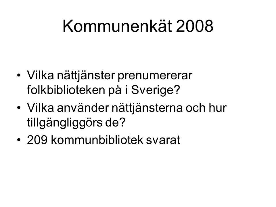 Kommunenkät 2008 Vilka nättjänster prenumererar folkbiblioteken på i Sverige.