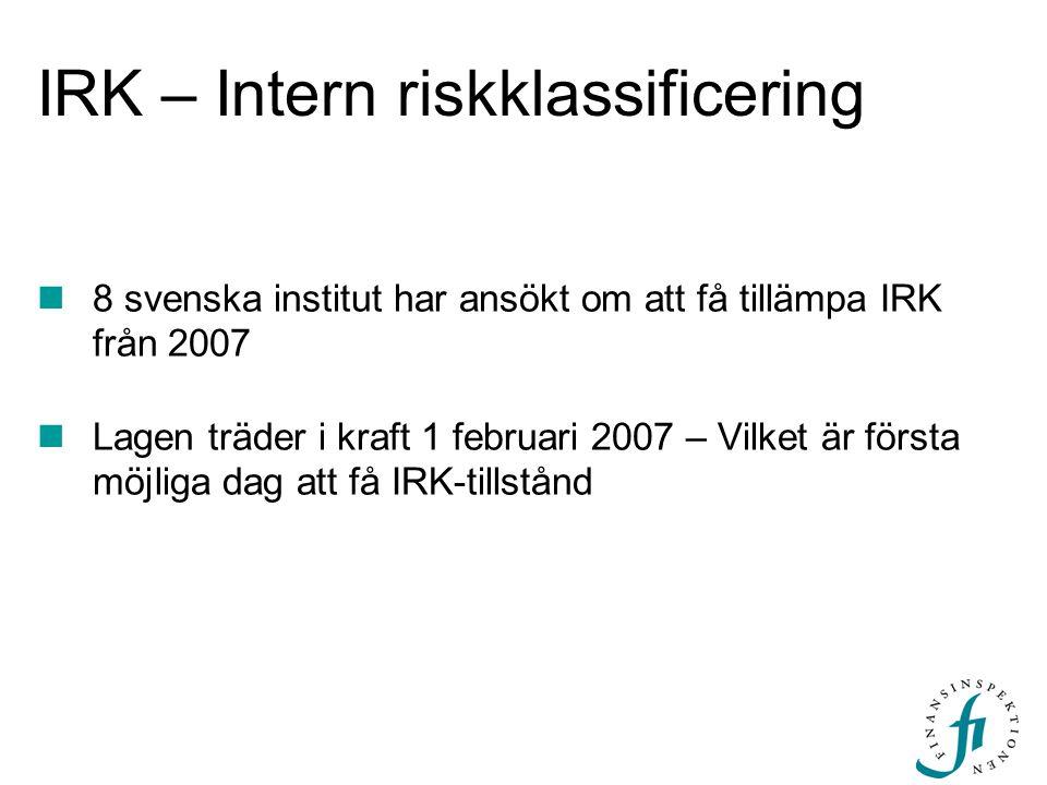 IRK – Intern riskklassificering 8 svenska institut har ansökt om att få tillämpa IRK från 2007 Lagen träder i kraft 1 februari 2007 – Vilket är första