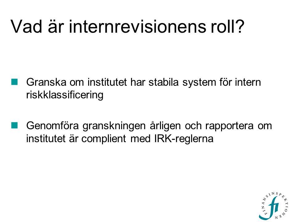 Vad är internrevisionens roll? Granska om institutet har stabila system för intern riskklassificering Genomföra granskningen årligen och rapportera om