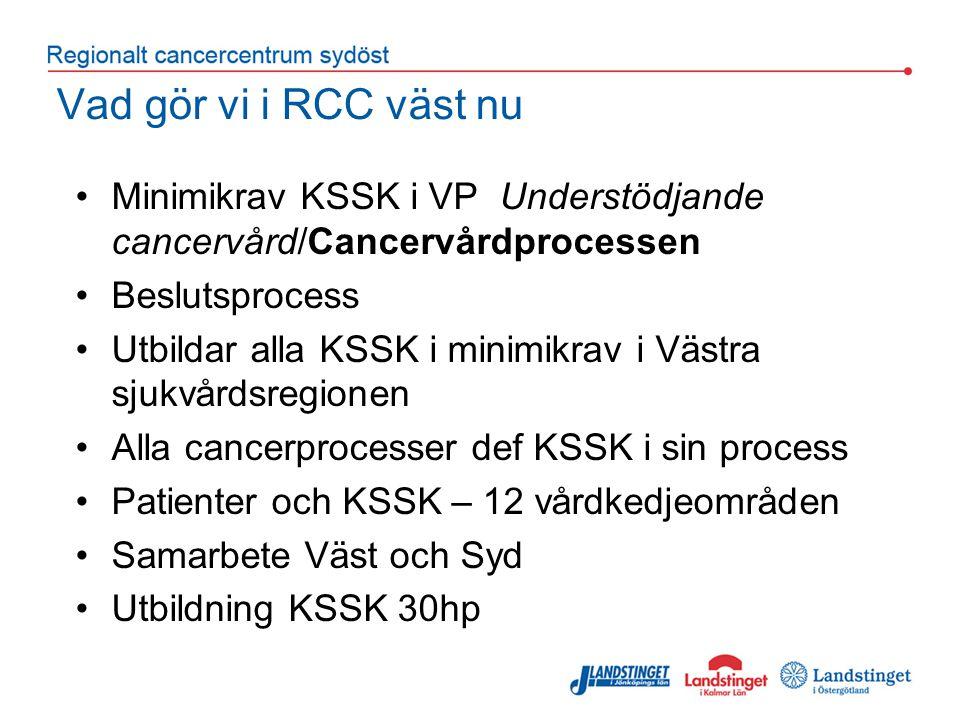 Vad gör vi i RCC väst nu Minimikrav KSSK i VP Understödjande cancervård/Cancervårdprocessen Beslutsprocess Utbildar alla KSSK i minimikrav i Västra sjukvårdsregionen Alla cancerprocesser def KSSK i sin process Patienter och KSSK – 12 vårdkedjeområden Samarbete Väst och Syd Utbildning KSSK 30hp