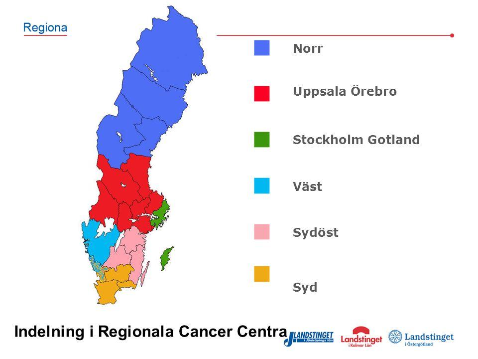 Norr Uppsala Örebro Stockholm Gotland Väst Sydöst Syd Indelning i Regionala Cancer Centra