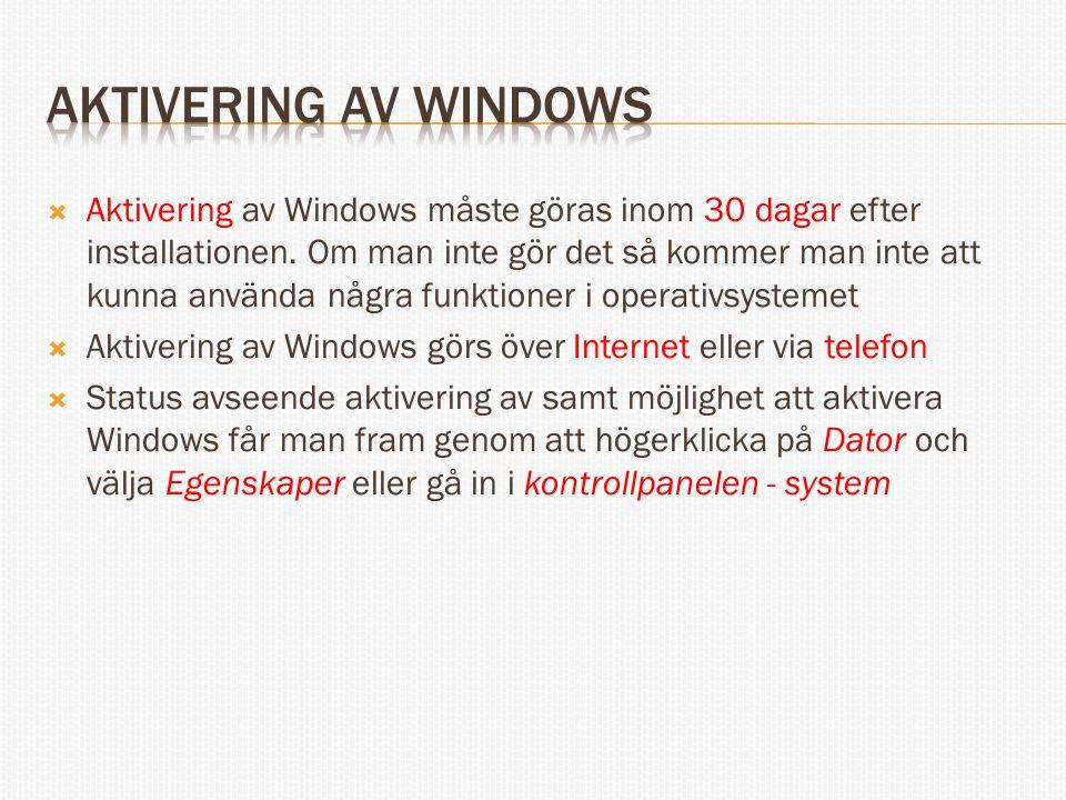 Aktivering av Windows måste göras inom 30 dagar efter installationen.