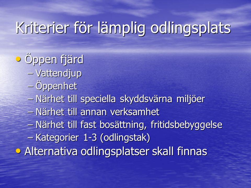 Kriterier för lämplig odlingsplats Öppen fjärd Öppen fjärd –Vattendjup –Öppenhet –Närhet till speciella skyddsvärna miljöer –Närhet till annan verksam