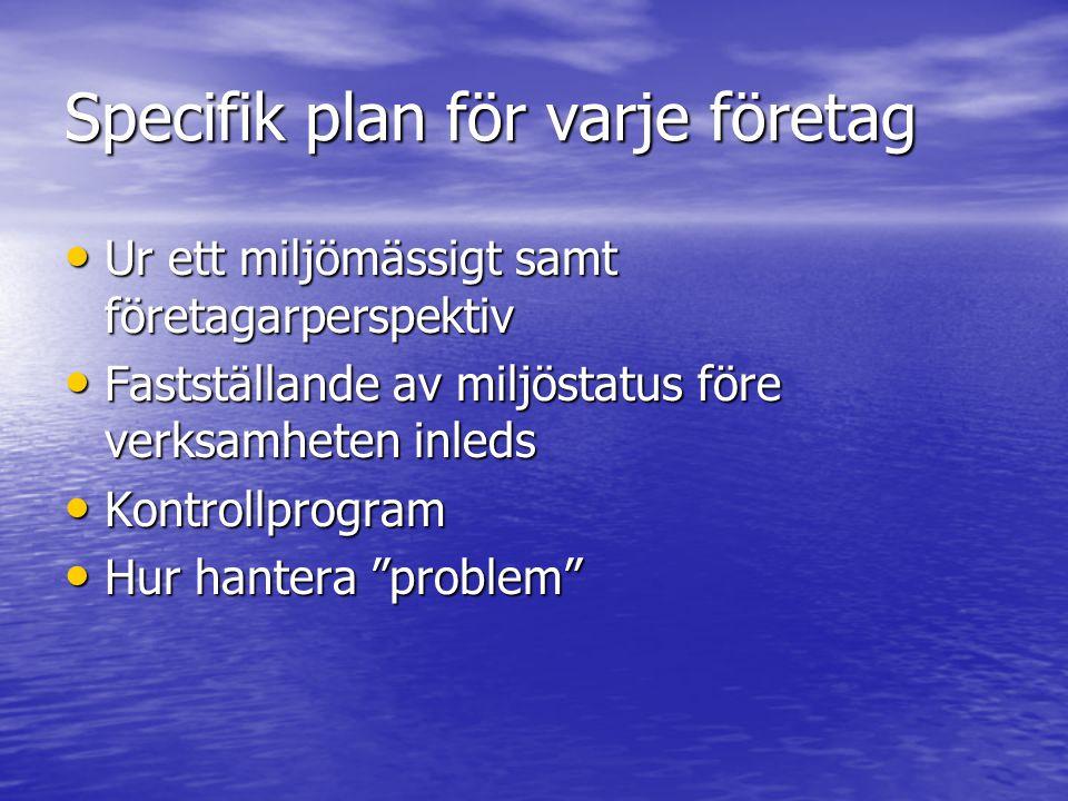 Specifik plan för varje företag Ur ett miljömässigt samt företagarperspektiv Ur ett miljömässigt samt företagarperspektiv Fastställande av miljöstatus