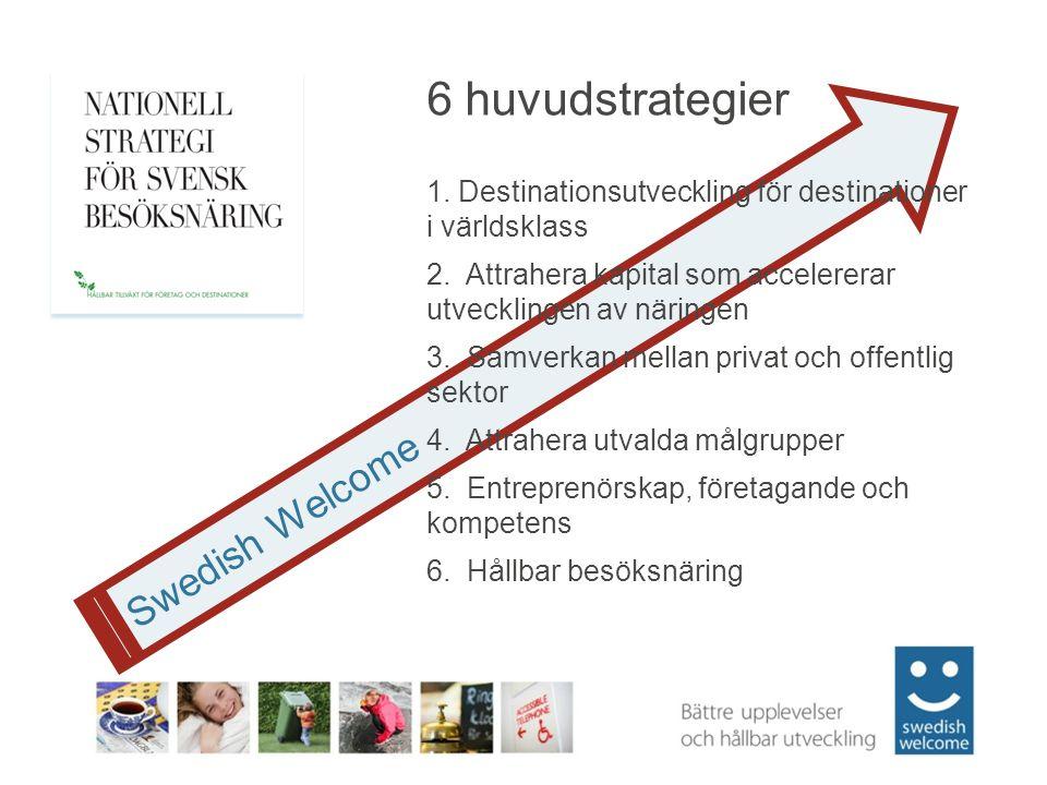 Swedish Welcome 6 huvudstrategier 1. Destinationsutveckling för destinationer i världsklass 2.