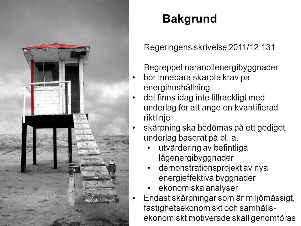 Bakgrund Regeringens skrivelse 2011/12:131 Begreppet näranollenergibyggnader bör innebära skärpta krav på energihushållning det finns idag inte tillrä