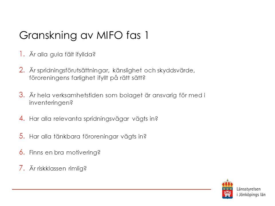 Granskning av MIFO fas 1 1. Är alla gula fält ifyllda? 2. Är spridningsförutsättningar, känslighet och skyddsvärde, föroreningens farlighet ifyllt på