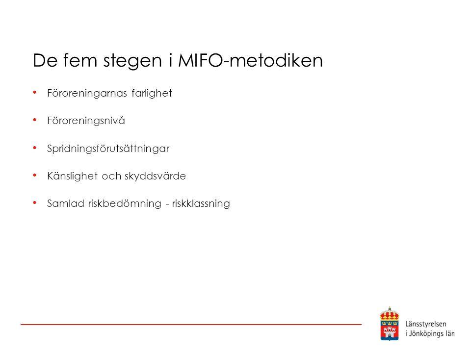 De fem stegen i MIFO-metodiken Föroreningarnas farlighet Föroreningsnivå Spridningsförutsättningar Känslighet och skyddsvärde Samlad riskbedömning - r