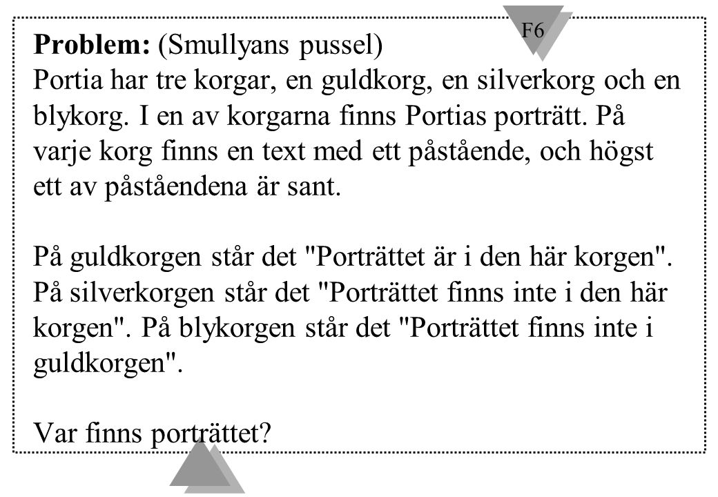F6 Problem: (Smullyans pussel) Portia har tre korgar, en guldkorg, en silverkorg och en blykorg. I en av korgarna finns Portias porträtt. På varje kor