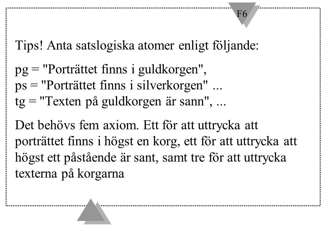 F6 Tips! Anta satslogiska atomer enligt följande: pg =