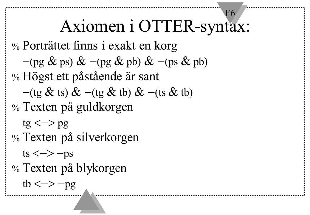 F6 Axiomen i OTTER-syntax: % Porträttet finns i exakt en korg  (pg  ps)  (pg  pb)  (ps  pb) % Högst ett påstående är sant  (tg  ts)  (t
