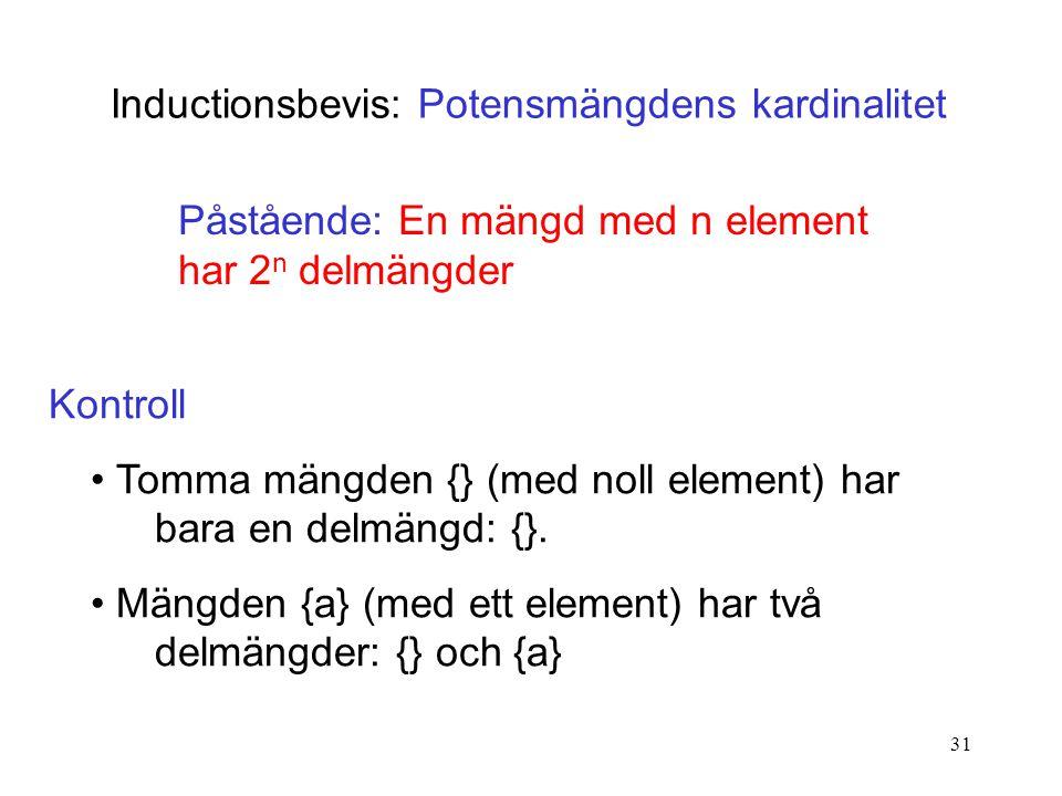 31 Inductionsbevis: Potensmängdens kardinalitet Påstående: En mängd med n element har 2 n delmängder Kontroll Tomma mängden {} (med noll element) har bara en delmängd: {}.