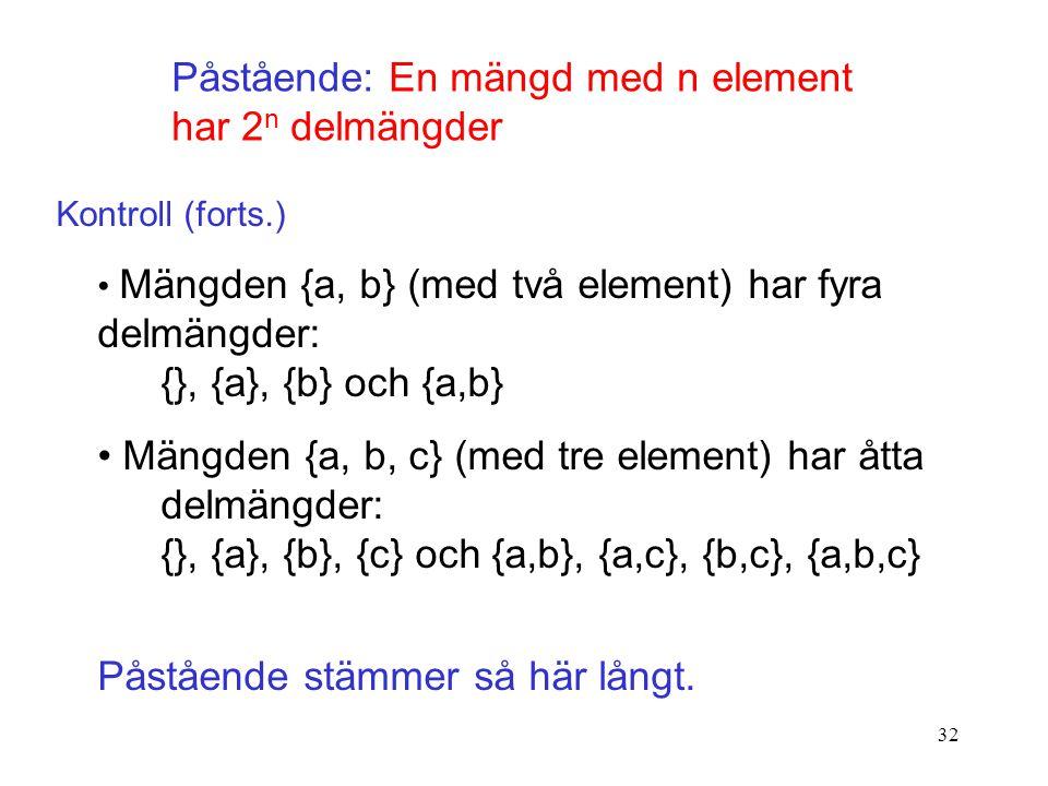 32 Påstående: En mängd med n element har 2 n delmängder Kontroll (forts.) Mängden {a, b} (med två element) har fyra delmängder: {}, {a}, {b} och {a,b} Mängden {a, b, c} (med tre element) har åtta delmängder: {}, {a}, {b}, {c} och {a,b}, {a,c}, {b,c}, {a,b,c} Påstående stämmer så här långt.