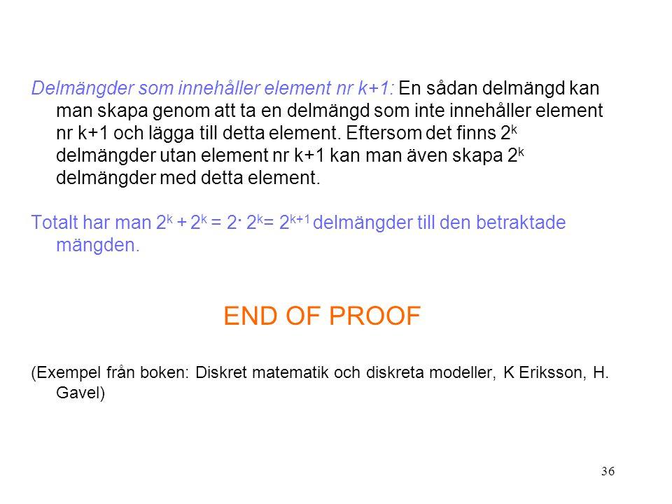 36 Delmängder som innehåller element nr k+1: En sådan delmängd kan man skapa genom att ta en delmängd som inte innehåller element nr k+1 och lägga till detta element.