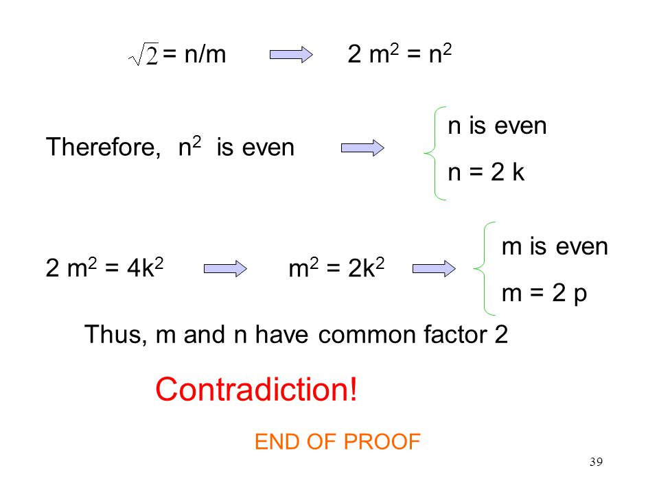 39 Therefore, n 2 is even n is even n = 2 k 2 m 2 = 4k 2 m 2 = 2k 2 m is even m = 2 p Thus, m and n have common factor 2 Contradiction.