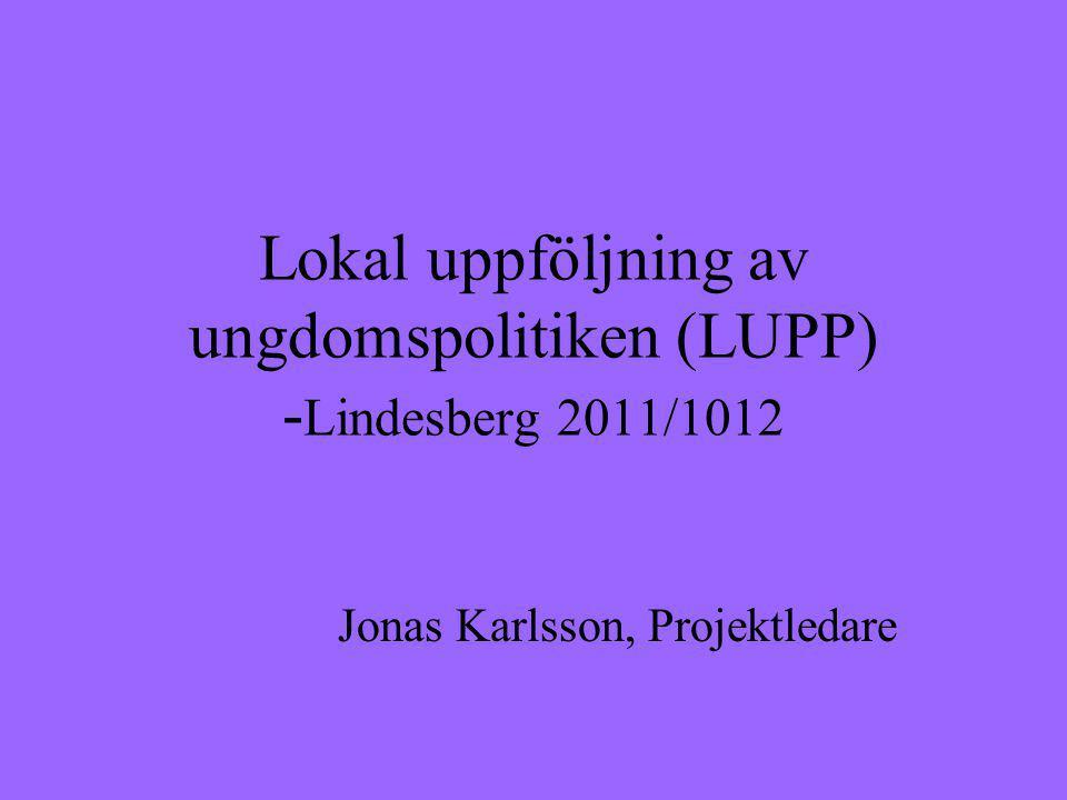 Lokal uppföljning av ungdomspolitiken (LUPP) - Lindesberg 2011/1012 Jonas Karlsson, Projektledare