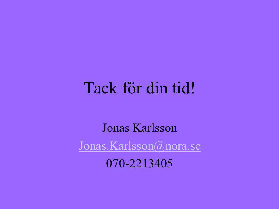 Tack för din tid! Jonas Karlsson Jonas.Karlsson@nora.se 070-2213405