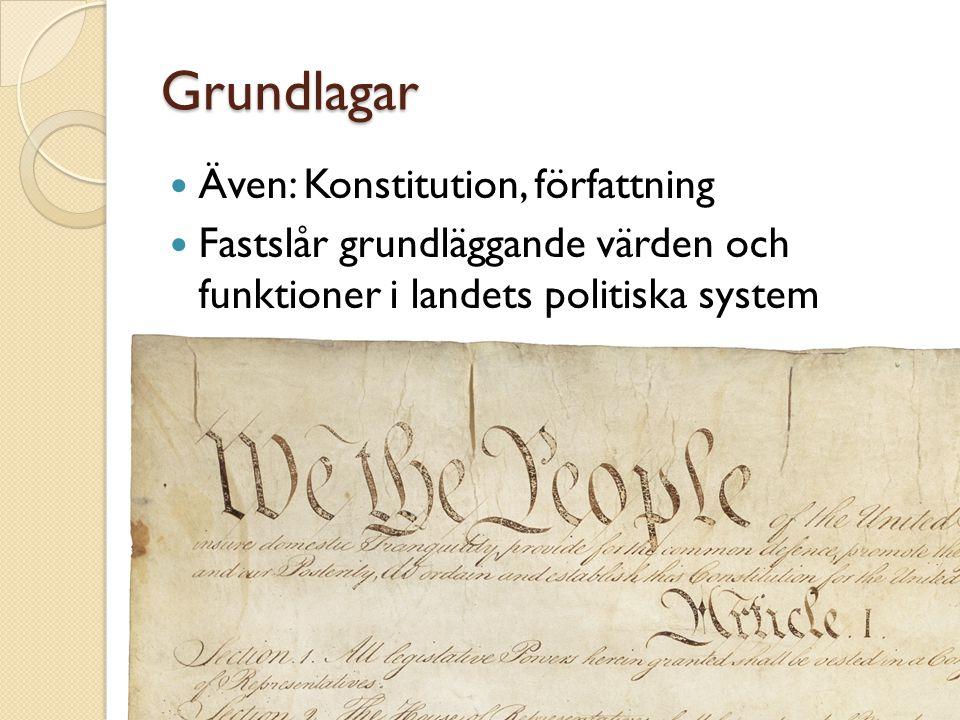 Grundlagar Även: Konstitution, författning Fastslår grundläggande värden och funktioner i landets politiska system