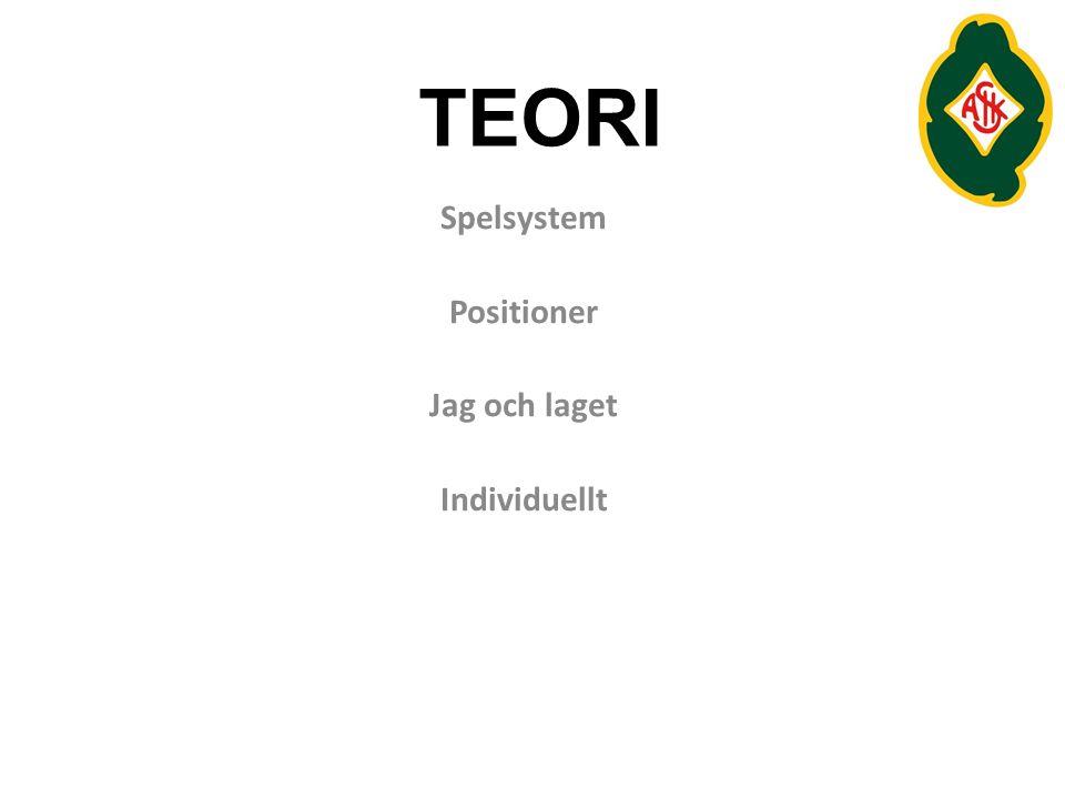 TEORI Spelsystem Positioner Jag och laget Individuellt