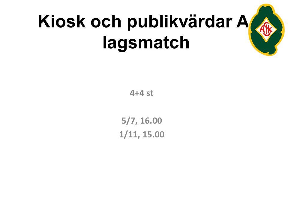 Kiosk och publikvärdar A- lagsmatch 4+4 st 5/7, 16.00 1/11, 15.00