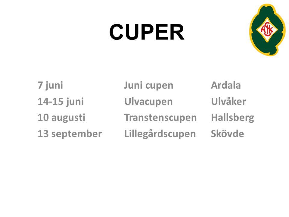 CUPER 7 juniJuni cupenArdala 14-15 juniUlvacupenUlvåker 10 augustiTranstenscupenHallsberg 13 septemberLillegårdscupenSkövde