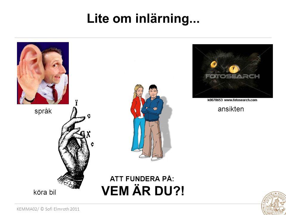 KEMMA02/ © Sofi Elmroth 2011 Lite om inlärning... ATT FUNDERA PÅ: VEM ÄR DU .
