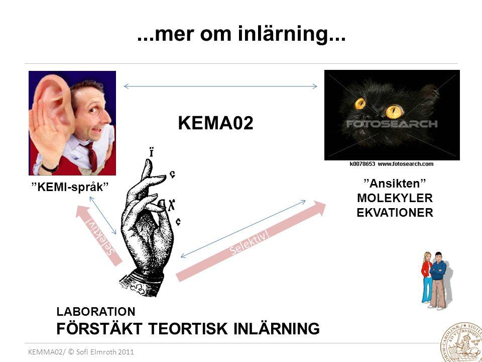 KEMMA02/ © Sofi Elmroth 2011...mer om inlärning...