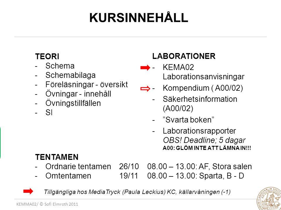 KEMMA02/ © Sofi Elmroth 2011 KURSINNEHÅLL TEORI -Schema -Schemabilaga -Föreläsningar - översikt -Övningar - innehåll -Övningstillfällen -SI TENTAMEN -Ordnarie tentamen 26/1008.00 – 13.00: AF, Stora salen -Omtentamen 19/1108.00 – 13.00: Sparta, B - D LABORATIONER -KEMA02 Laborationsanvisningar -Kompendium ( A00/02) -Säkerhetsinformation (A00/02) - Svarta boken -Laborationsrapporter OBS.