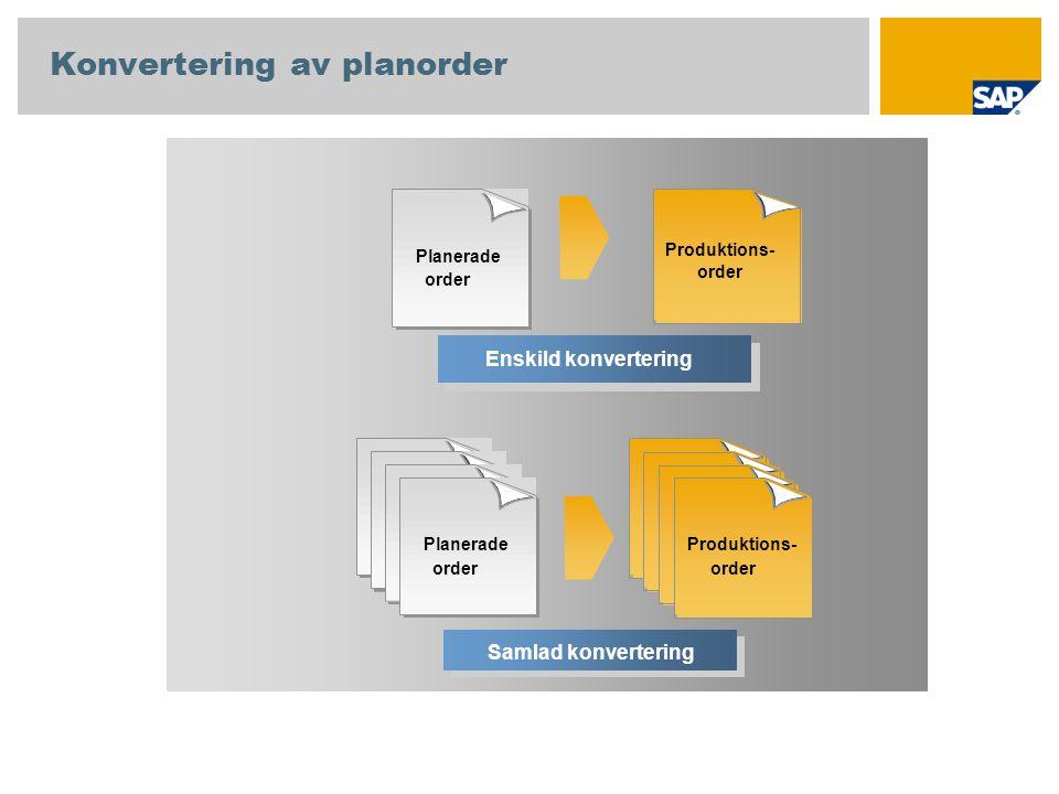 Enskild konvertering Planerade order Produktions- order Samlad konvertering Konvertering av planorder Produktions- order Planerade order