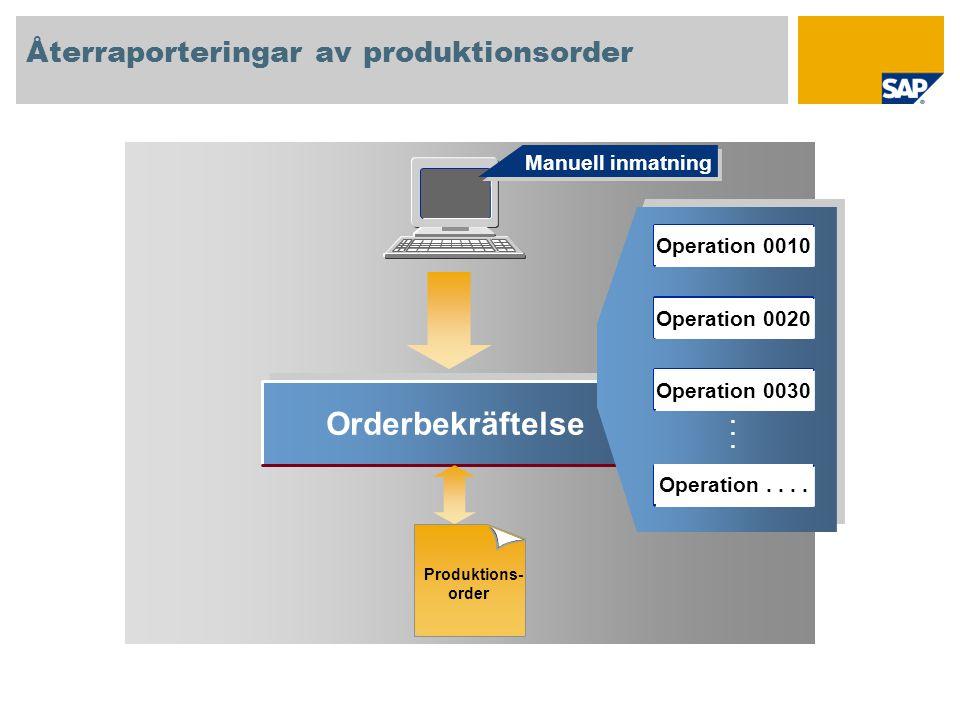 Orderbekräftelse...... Manuell inmatning Återraporteringar av produktionsorder Produktions- order Operation 0010 Operation 0020 Operation 0030 Operati