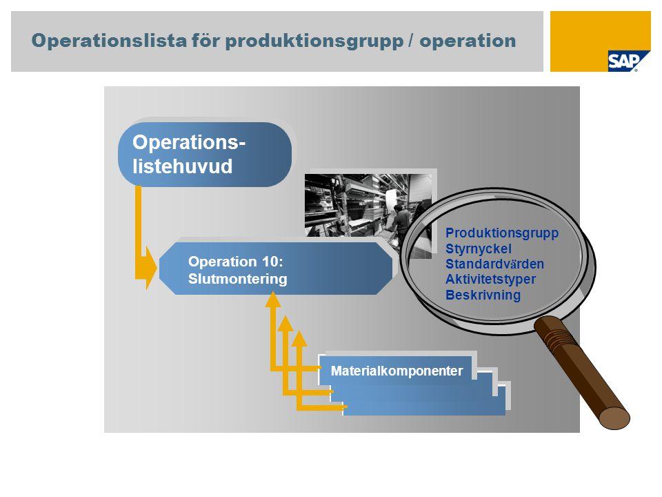Operationslista för produktionsgrupp / operation Operations- listehuvud Operation 10: Slutmontering Materialkomponenter Produktionsgrupp Styrnyckel St