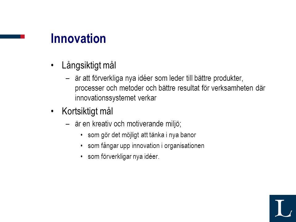 Innovation Långsiktigt mål –är att förverkliga nya idéer som leder till bättre produkter, processer och metoder och bättre resultat för verksamheten där innovationssystemet verkar Kortsiktigt mål –är en kreativ och motiverande miljö; som gör det möjligt att tänka i nya banor som fångar upp innovation i organisationen som förverkligar nya idéer.