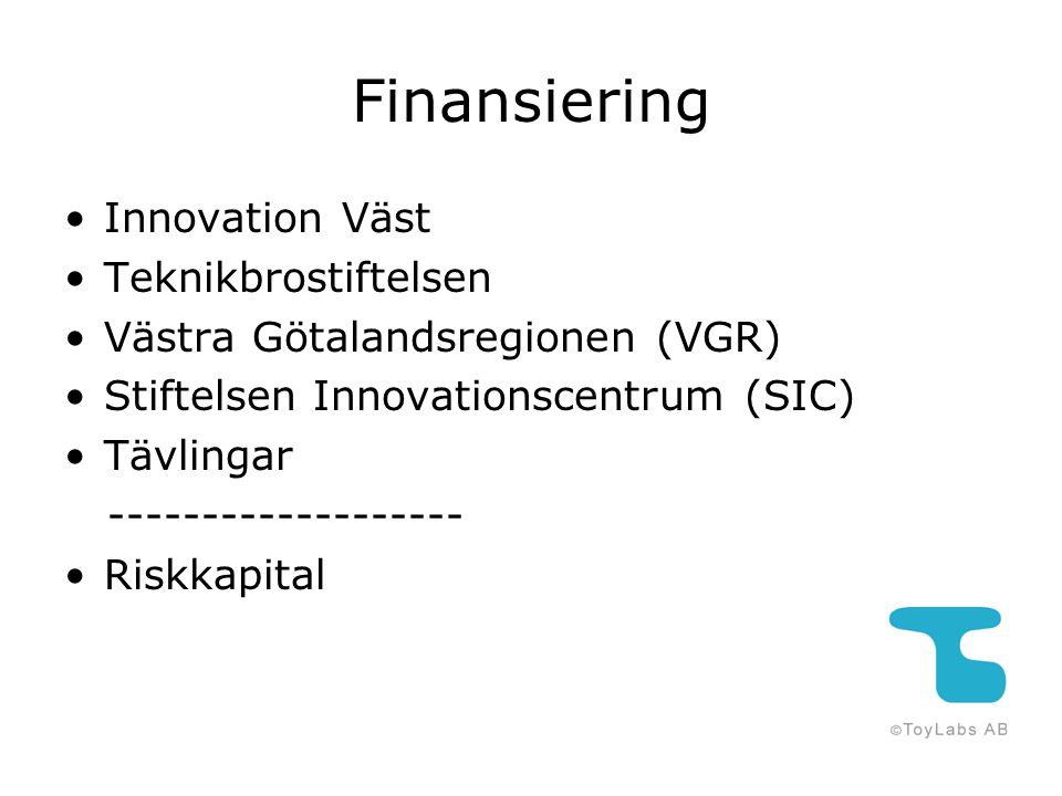Finansiering Innovation Väst Teknikbrostiftelsen Västra Götalandsregionen (VGR) Stiftelsen Innovationscentrum (SIC) Tävlingar ------------------- Risk