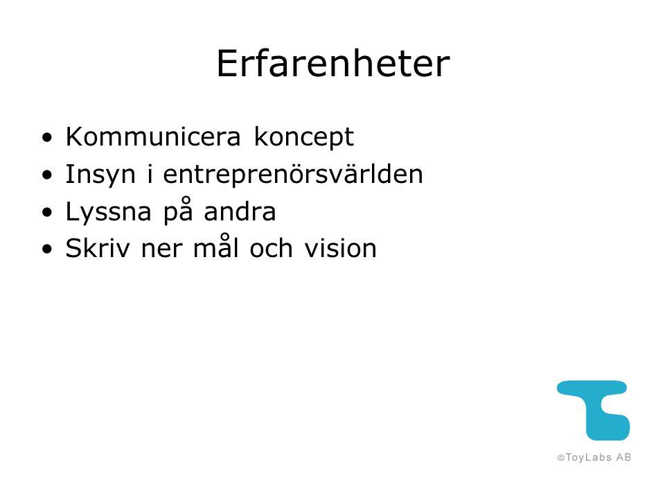 Erfarenheter Kommunicera koncept Insyn i entreprenörsvärlden Lyssna på andra Skriv ner mål och vision