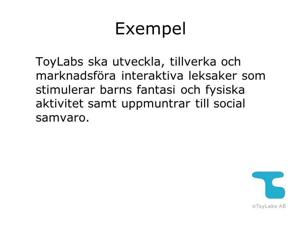 Exempel ToyLabs ska utveckla, tillverka och marknadsföra interaktiva leksaker som stimulerar barns fantasi och fysiska aktivitet samt uppmuntrar till