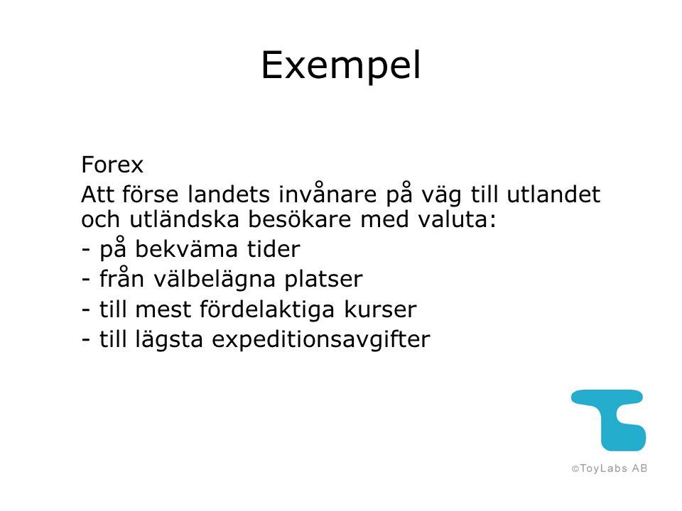 Exempel Forex Att förse landets invånare på väg till utlandet och utländska besökare med valuta: - på bekväma tider - från välbelägna platser - till m